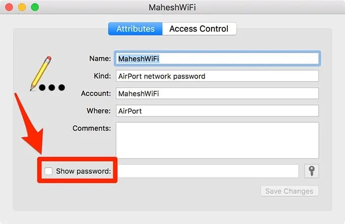 select show password checkbox to view wifi password