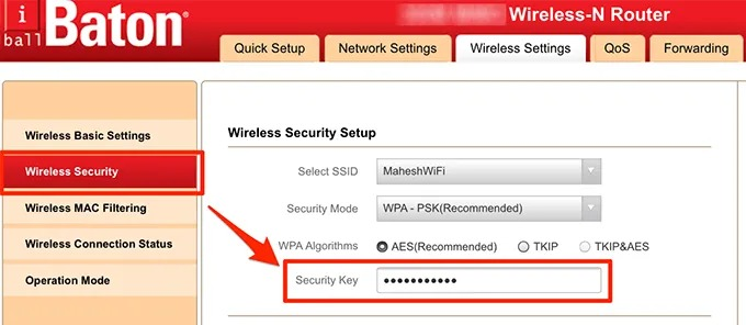 tap on security key to view the wifi password