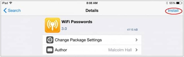wifi password revealed on jailbroken iphone through cydia