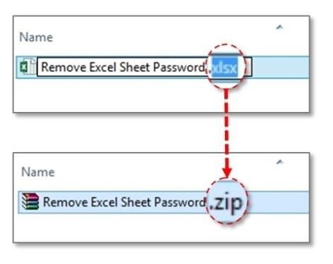 change .xlsx to .zip for unprotecting Excel sheet without password 2013