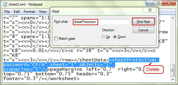 remove the tag containing sheetprotection