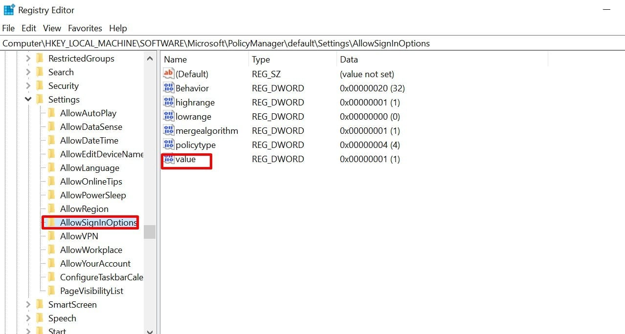 choose value to disable Windows Hello PIN