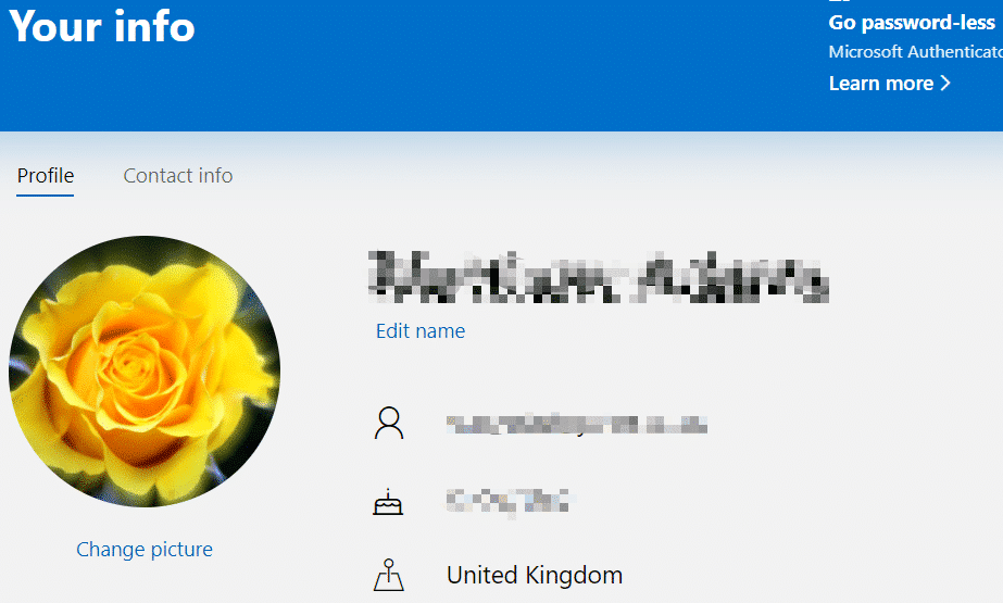 Edit name option to rename Microsoft user accounts