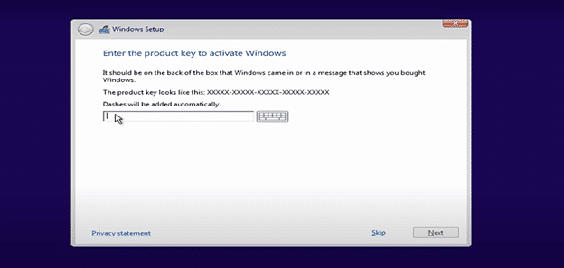 enter Windows 10 product key to upgrade Windows Vista to Windows 10