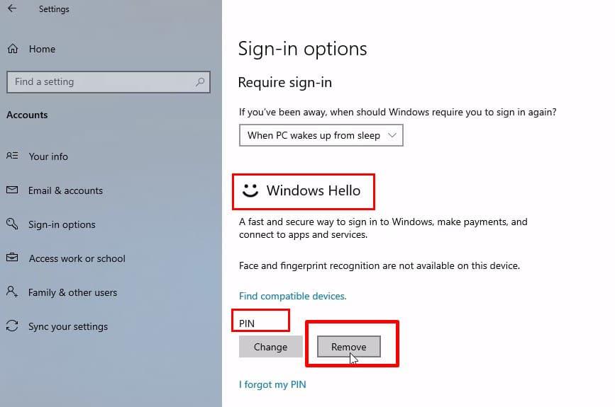 select Windows Hello to remove Windows Hello Pin