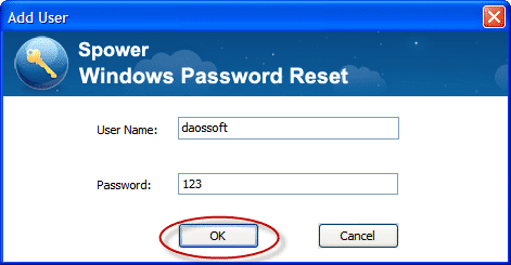 The Add User window in Windows Password Reset Special