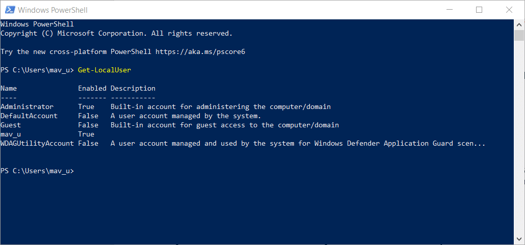 The Get-LocalUser command in PowerShell