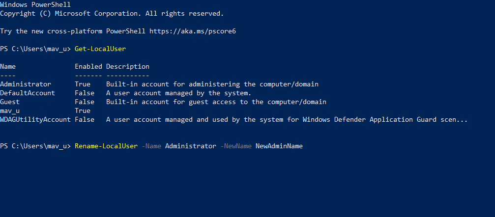 The rename account PowerShell command
