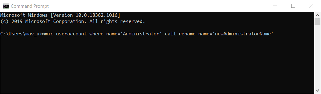The rename user account Command Prompt command