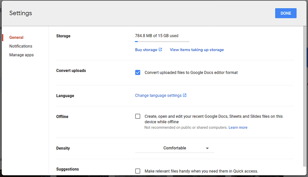 "choose ""Convert uploaded files to Google Docs"" option"