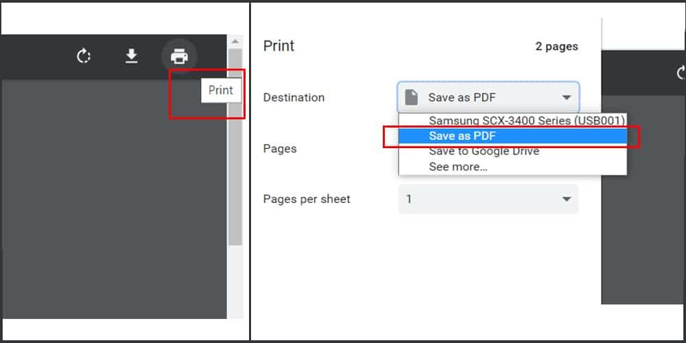 cliquez sur 'Enregistrer en tant que PDF pour pirater le mot de passe PDF