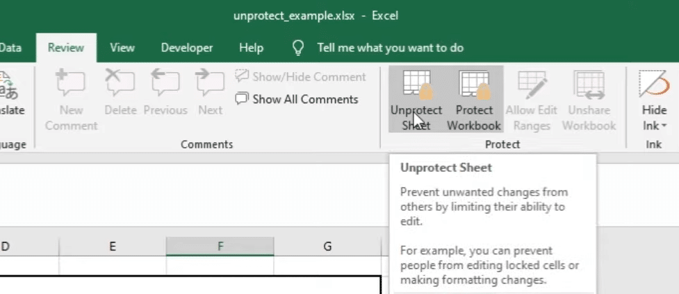 "select ""Unprotect Sheet"" button to turn off read only in excel"