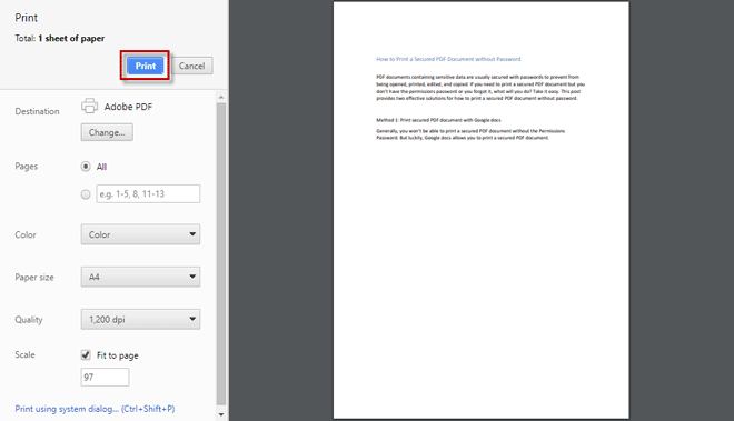 click on print to print password protected PDF