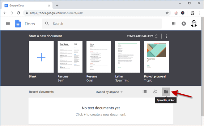 click open file picker to print a secured pdf