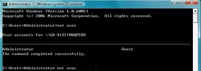Reset new password in Command prompt for Sony Vaio laptop